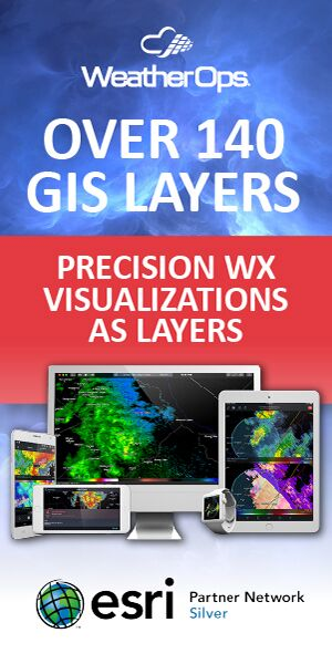 WeatherOps - Over 140 GIS Layers. Precision Weather Visualizations as Layers. Click here to learn more. Esri Partner Network - Silver.