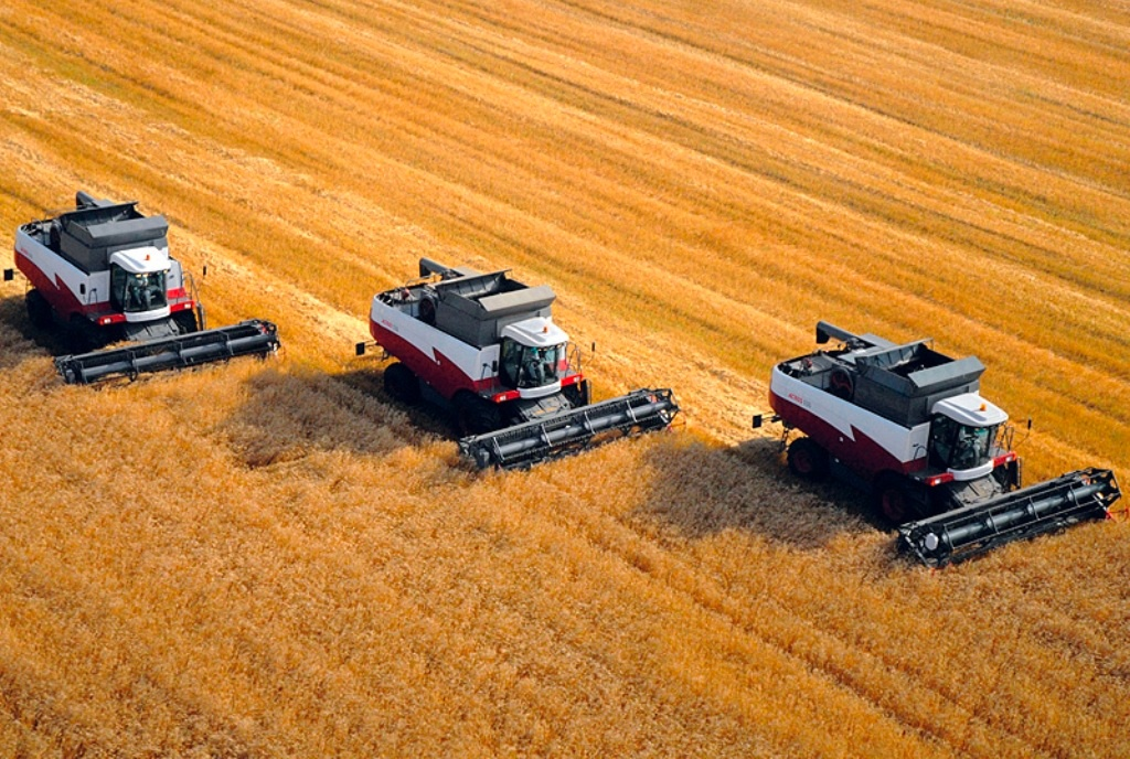 Combine harvesters working on a field