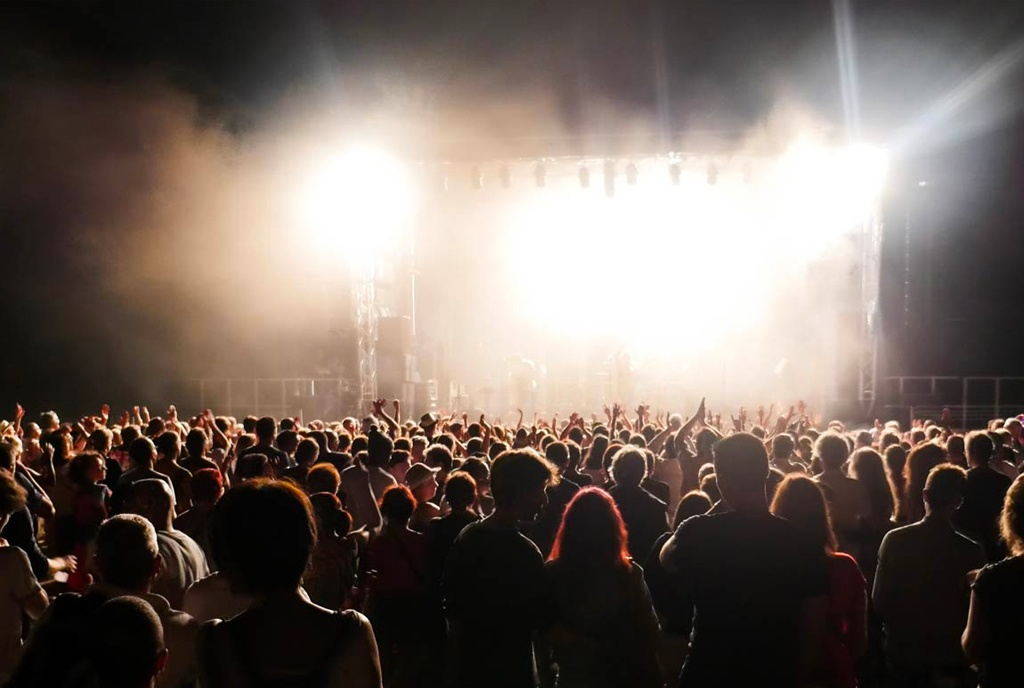 Stage and crowd at night